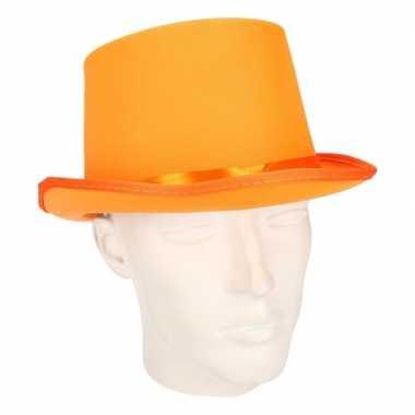 Carnavals originele hoge hoed oranje carnavalskleding