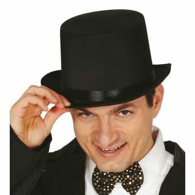 Carnavals originele hoge hoed zwart carnavalskleding