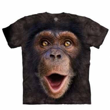 Originele aap t shirt chimpansee jong kinderen carnavalskleding