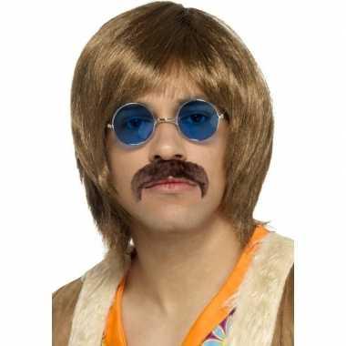 Originele abba heren verkleed pruik, snor bril setje heren carnavalsk