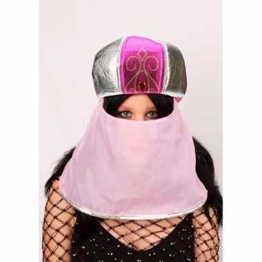 Originele arabische muts roze sluier dames carnavalskleding