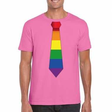 Originele azalea roze t shirt regenboog vlag stropdas heren carnavals