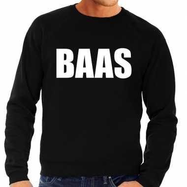 Originele baas tekst sweater / trui zwart heren carnavalskleding