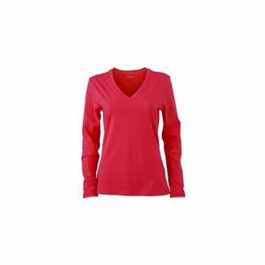 Originele basic dames shirt v hals lange mouw roze carnavalskleding