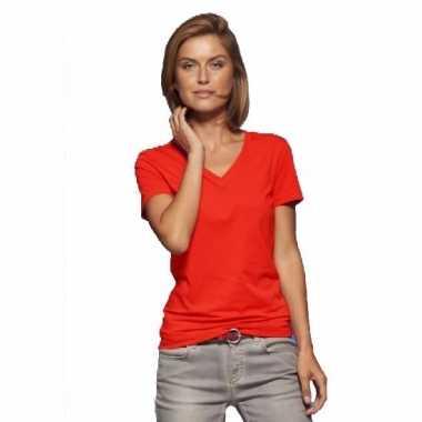 6de08bdab13 Originele basic dames t shirt v hals rood carnavalskleding ...