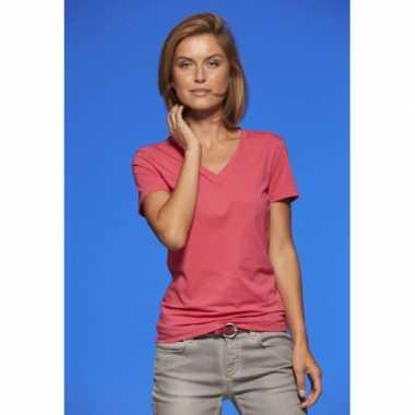 Originele basic dames t shirt v hals roze carnavalskleding