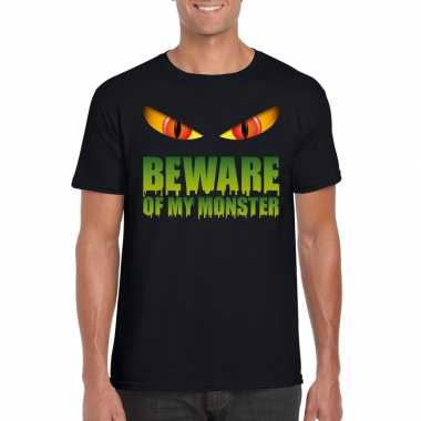 Originele beware of my monster halloween t shirt zwart heren carnaval