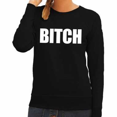 Originele bitch tekst sweater / trui zwart dames carnavalskleding