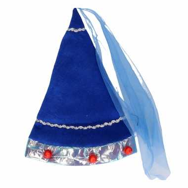 Originele blauw fee hoedje volwassenen carnavalskleding