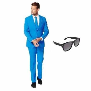 Originele blauw heren carnavalskleding maat (m) gratis zonnebril