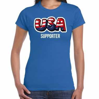 Originele blauw t shirt usa / amerika supporter ek/ wk dames carnavalskleding
