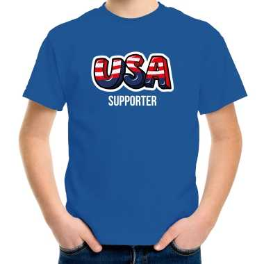 Originele blauw t shirt usa / amerika supporter ek/ wk kinderen carnavalskleding
