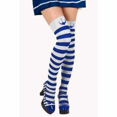 Originele blauw/witte matroos kousen verkleed accessoire dames carnav