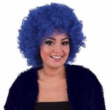 Originele blauwe afropruik carnavalskleding