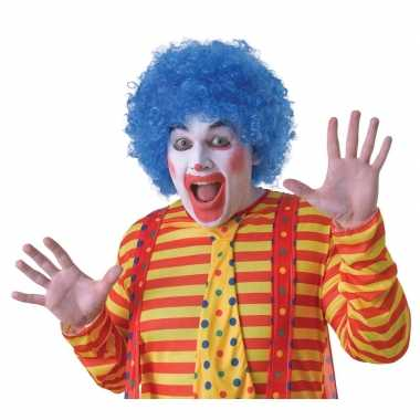 Originele blauwe clownspruik volwassenen carnavalskleding