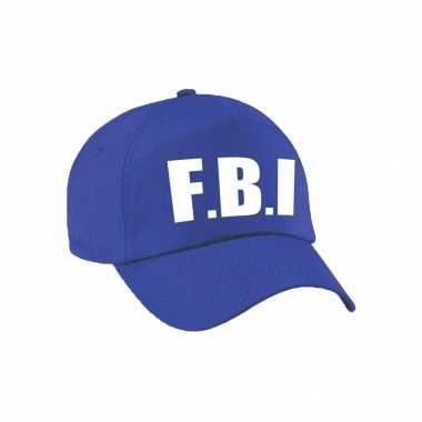 Originele blauwe fbi politie agent verkleed pet / cap kinderen carnavalskleding