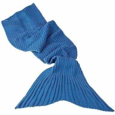 Originele blauwe gebreide zeemeermin deken volwassenen carnavalskledi