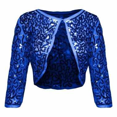 Originele blauwe glitter pailletten disco bolero jasje dames carnaval