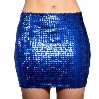Originele blauwe glitter pailletten disco rokje dames carnavalskledin