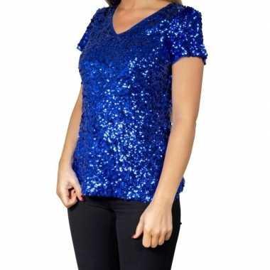 Originele blauwe glitter pailletten disco shirt dames carnavalskledin