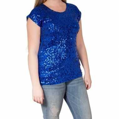 Originele blauwe glitter pailletten disco shirt dames l/xl carnavalsk