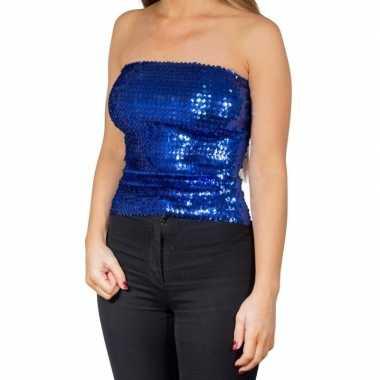 Originele blauwe glitter pailletten disco strapless topje/ shirt dame