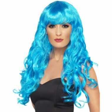 Originele blauwe krullenpruik dames carnavalskleding