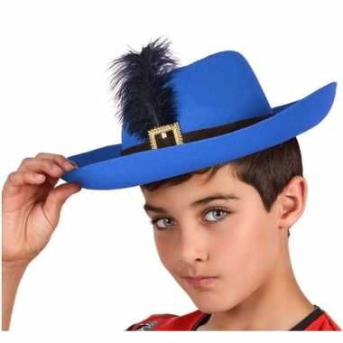 Originele blauwe musketier verkleed hoed kinderen carnavalskleding