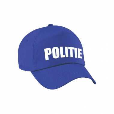 Originele blauwe politie agent verkleed pet / cap kinderen carnavalskleding
