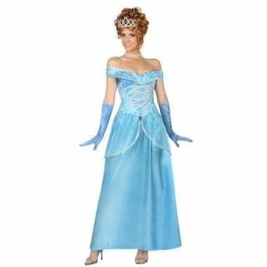 Originele blauwe prinsessen verkleed carnavalskleding dames