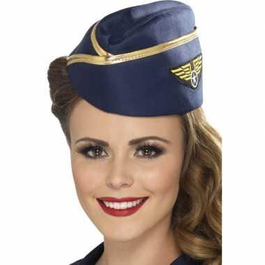 Originele  Blauwe stewardessen hoofddeksel carnavalskleding