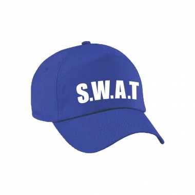 Originele blauwe swat team politie agent verkleed pet / cap kinderen carnavalskleding