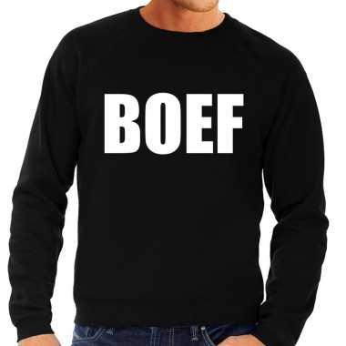 Originele boef tekst sweater / trui zwart heren carnavalskleding