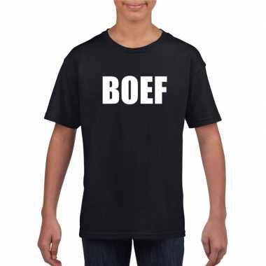 Originele boef tekst t shirt zwart kinderen carnavalskleding