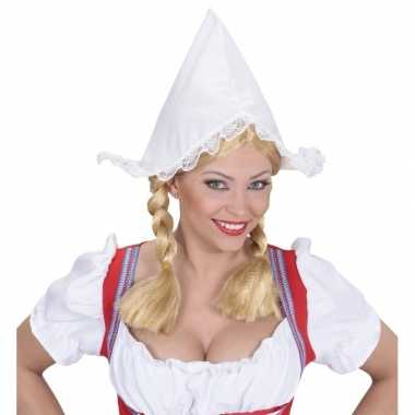 Originele boerinnen hoofdkapje wit dames carnavalskleding