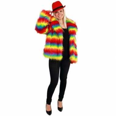 Originele bontjas regenboog print dames carnavalskleding