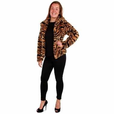 Originele bontjas tijger print dames carnavalskleding