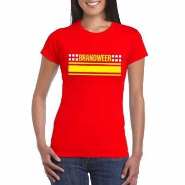 Originele brandweer logo t shirt rood dames carnavalskleding