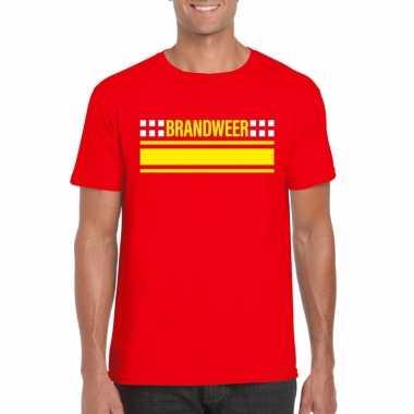 Originele brandweer logo t shirt rood heren carnavalskleding