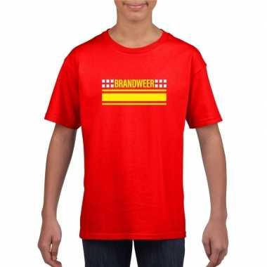 Originele brandweer logo t shirt rood kinderen carnavalskleding