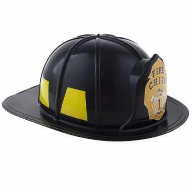 Originele brandweer verkleed helm zwart volwassenen carnavalskleding