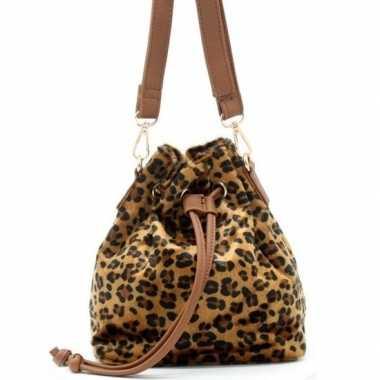 Originele bruin/zwart luipaardprint schoudertasje/bucket bag carnaval