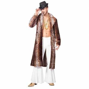 Originele bruine pimp/pooier verkleed jas heren carnavalskleding