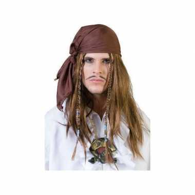 Originele bruine piraten bandana pruik carnavalskleding
