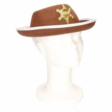 Originele bruine sheriff hoed kinderen carnavalskleding