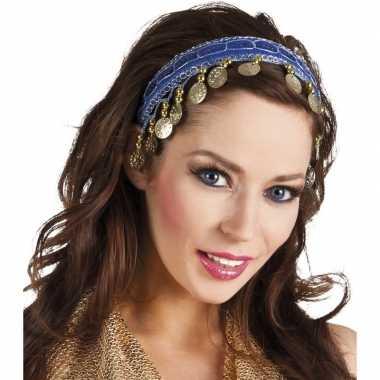 Originele buikdanseres hoofdband/diadeem kobalt blauw dames verkleeda