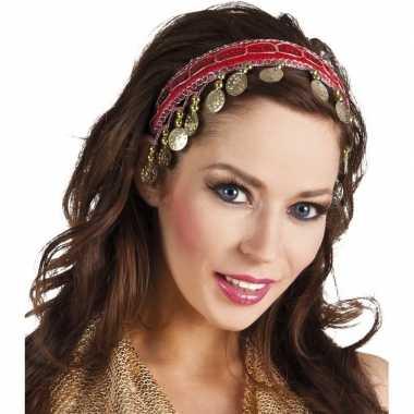 Originele buikdanseres hoofdband/diadeem rood dames verkleedaccessoir