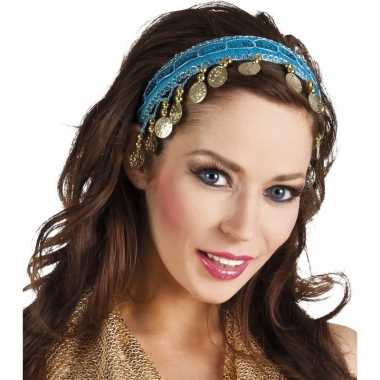 Originele buikdanseres hoofdband/diadeem turquoise blauw dames verkle