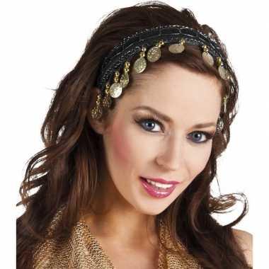 Originele buikdanseres hoofdband/diadeem zwart dames verkleedaccessoi