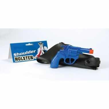 Originele carnaval accessoires politie pistool blauw carnavalskleding